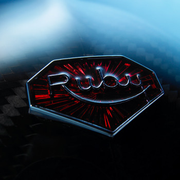RUBY CARBON HELMET LOGO CLOSE UP